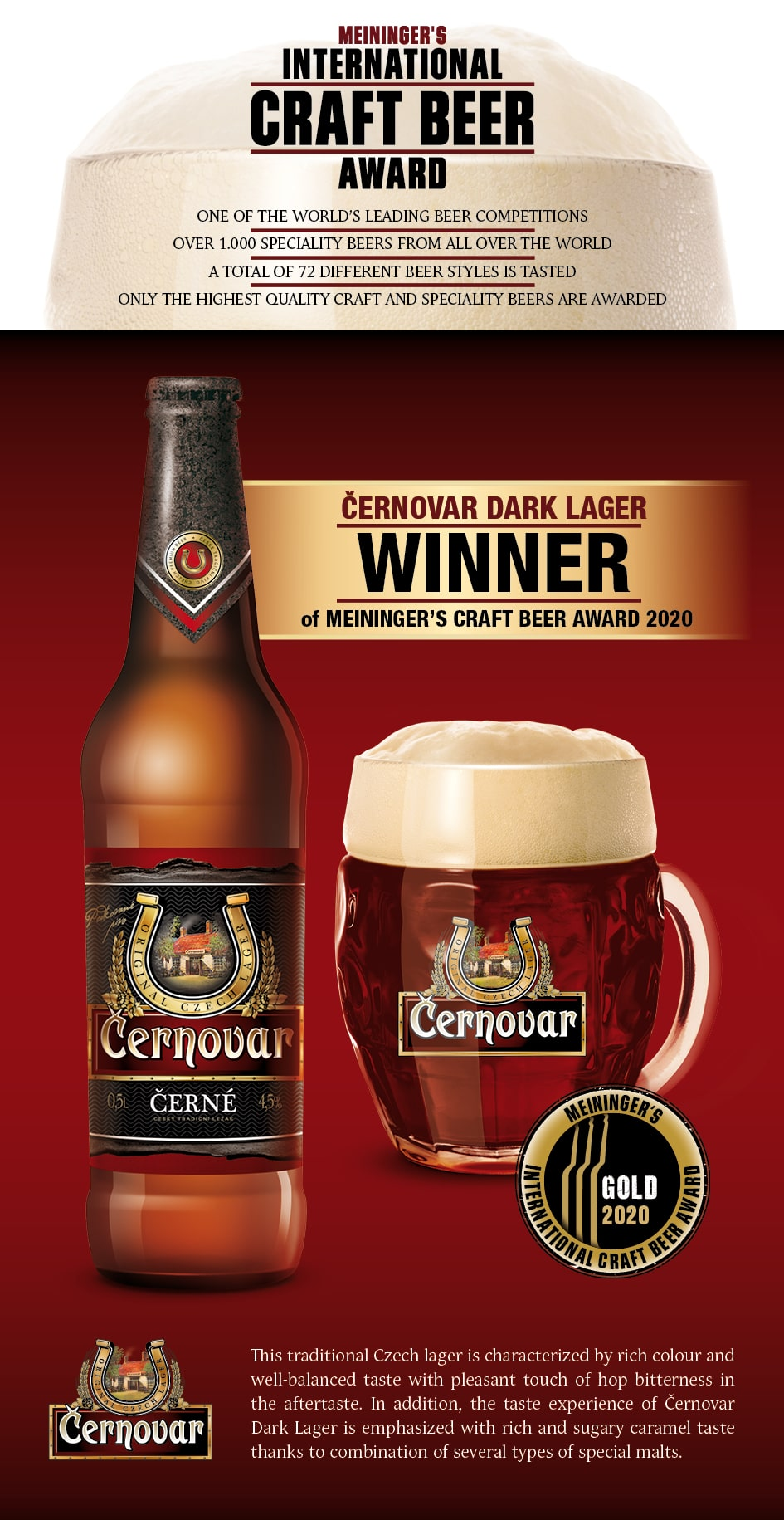 Černovar tmavý - zlato v súťaži Meininger's International Craft Beer Award
