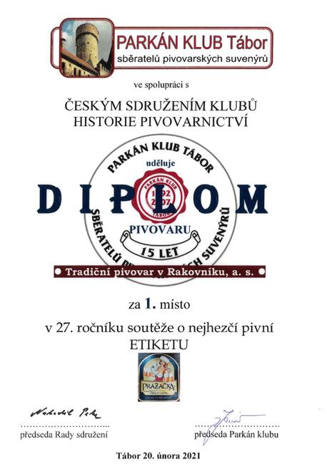 Najkrajšia pivná etiketa - 1.miesto v súťaži - Pražačka zimná edícia